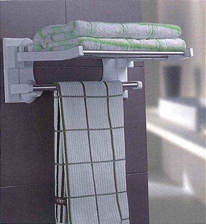 Prateleira com Sistema de Fixação Sem Furo  de toalha dobrável - 40 cm