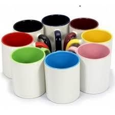 Canecas de Porcelana Branca com Interior e Alça Colorida Personalizada