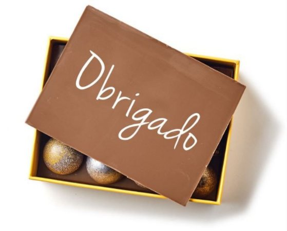 Yellow Box 12 Bombons com Placa Obrigada (o)