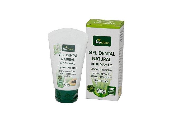 Gel Dental Natural Aloe Mamão Livealoe 60gr