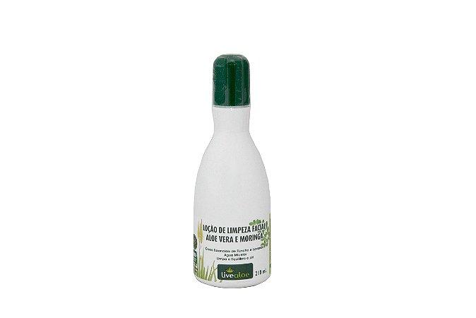 Loção de Limpeza Facial Aloe vera e Moringa Livealoe 210ml