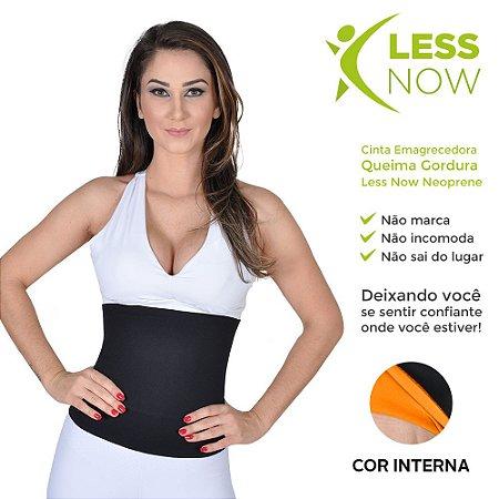 Cinta Abdominal Alta Queima Gordura Less Now Em Neoprene Preto com Amarelo