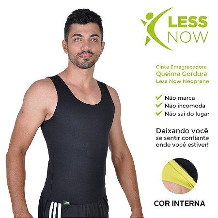 Cinta Masculina Emagrecedora Queima Gordura Less Now T-shirt Preta com Amarela