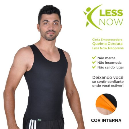 Cinta Masculina Emagrecedora Queima Gordura Less Now T-shirt Preta com Laranja