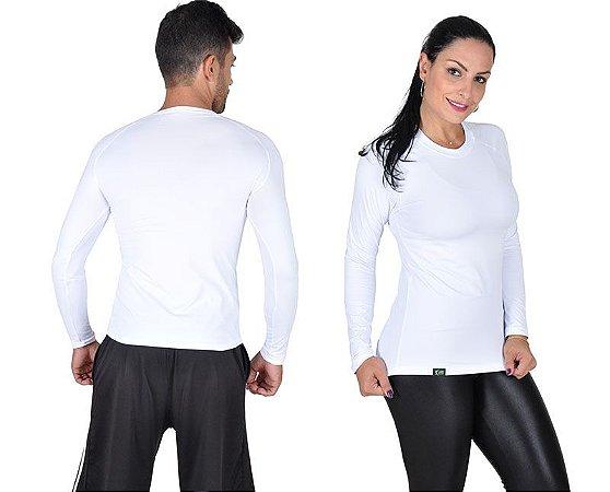 Camiseta Less Now Unissex Fator Proteção Solar 50 Uva/uvb Branca