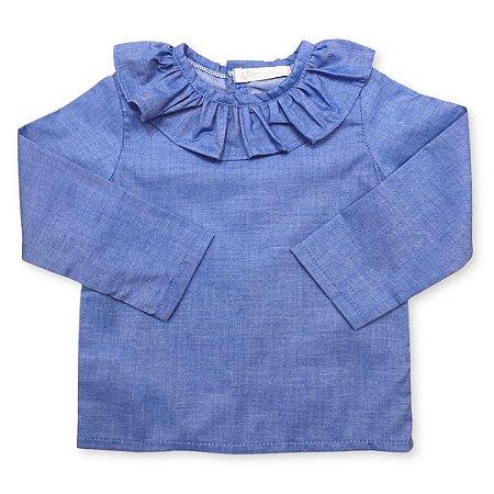 Bata Infantil Gola Redonda Azul Jeans