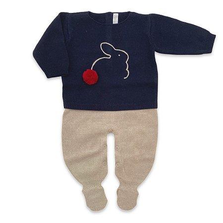 Saída de Maternidade Masculina Bunny - Azul Marinho - Tamanho RN