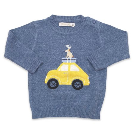 Malha de Tricô para Meninos - Estampa Carro - Cor Jeans