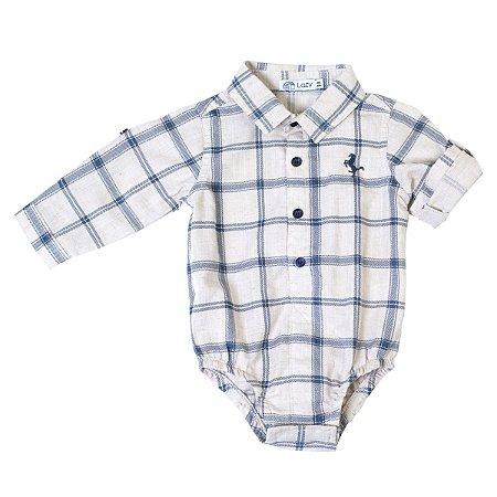 Body Camisa Infantil Masculino - Estampa Xadrez - Manga Longa