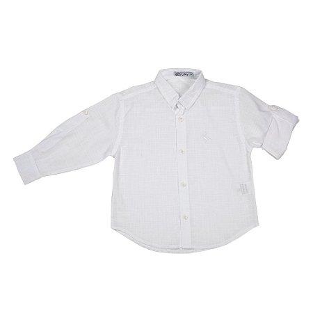 Camisa Infantil Branca - Manga Longa - Cambraia de Algodão
