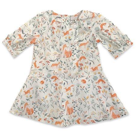 Vestido Infantil Estampa Floresta