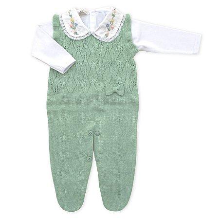 Saída de Maternidade Feminina - Conjunto Jardineira Folhas Verde e Body