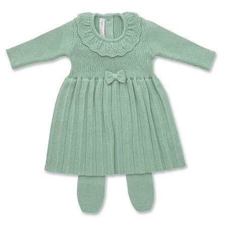 Vestido Saída de Maternidade Plissado Verde