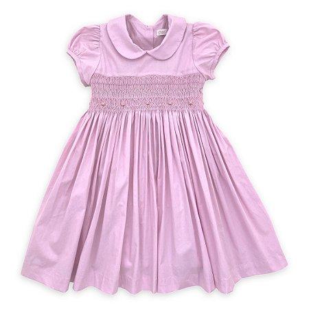 Vestido Ponto Smock Rosa - Tam 1 e 2