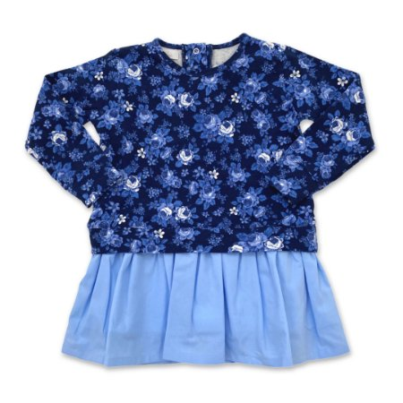 Vestido Molecotton Flowers - Azul Claro