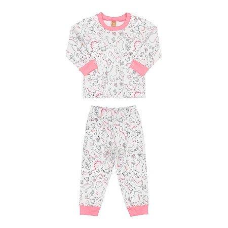 Pijama Infantil Feminino Manga Longa Estampa Dino - Suedine - Tam 1 a 4