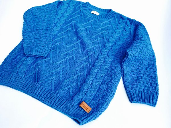 Malha Tricot Infantil Azul - Tamanho 8
