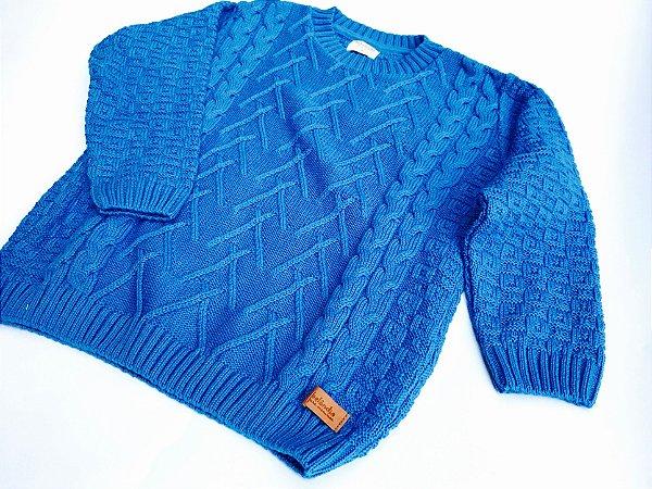 Malha Tricot Infantil Azul