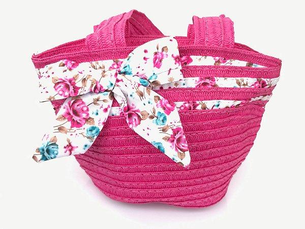 Bolsa de Palha Infantil com Laço Florido