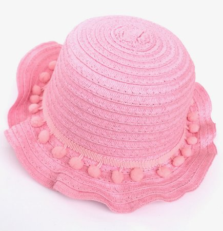 Chapéu Infantil Palha com Pompons Rosa