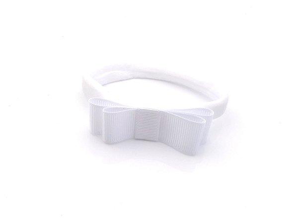 Faixa Meia de Seda Laço Chanel Branco Roana