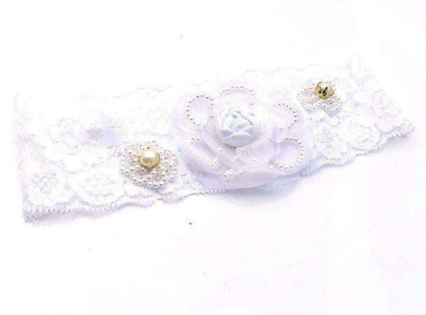 Faixa Luxo Branca com Flor Roana