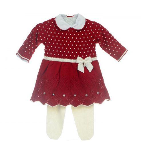 Saída de Maternidade - Vestido Casinha Vermelho com Pérolas e Cristais  Swarovski - RN fc54cf005dd