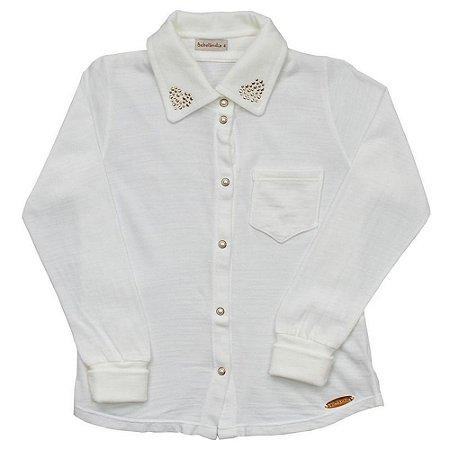 Camisa Lisa Gola Coração - Tamanho 6 a 8