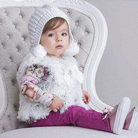 Gorro Orelha Pompom Branco