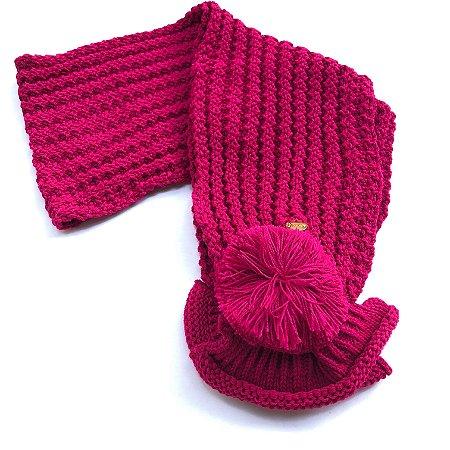 Cachecol Tricot Pompom Rosa Pink