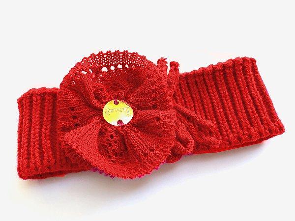 Faixa Cabelo Tricô Flor Vermelha
