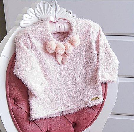 Blusão Peludinho Rosa Nuvem - Tam G a 1
