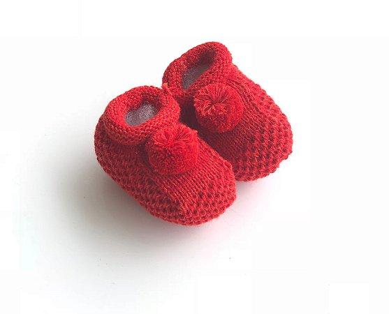 Sapatinho de Tricô Pompom Vermelho