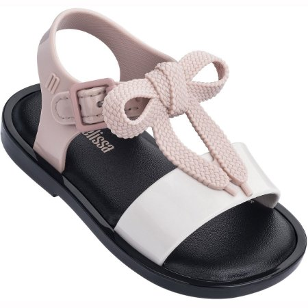 Mini Melissa Mar Sandal - Preta/Branca/Rosa