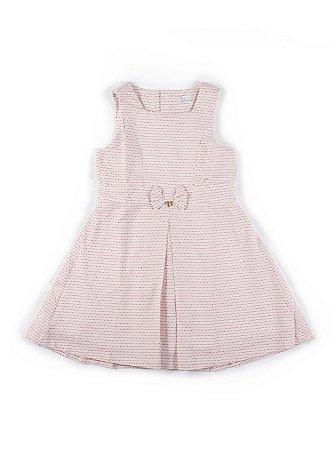 Vestido Girl Laço - Cru e Vermelho - Tamanho 6