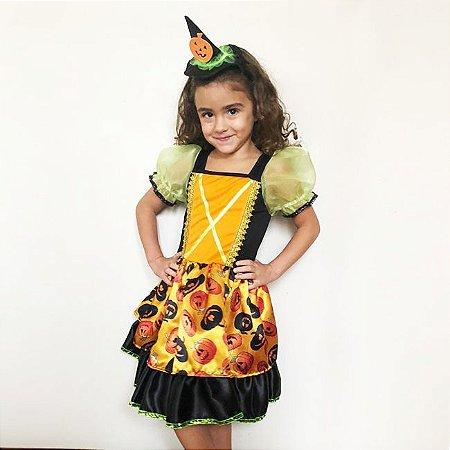 Vestido e Fantasia de Bruxa Infantil Abóbora