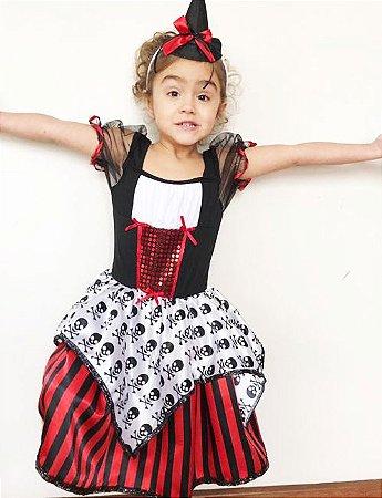 Vestido e Fantasia de Bruxa Infantil Pirata