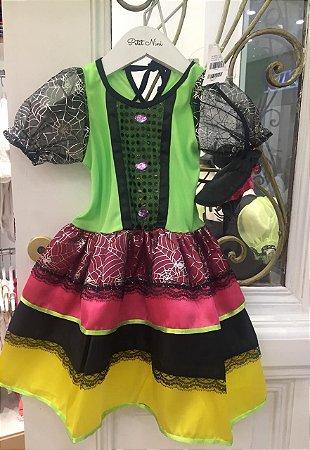 Vestido e Fantasia de Bruxa Infantil Colorida