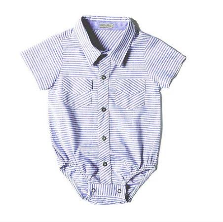 Body Camisa Manga Curta Listrado