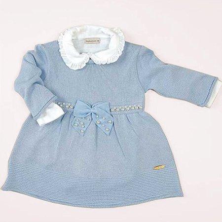 Vestido Tricô Pérola Azul - Tamanho 3