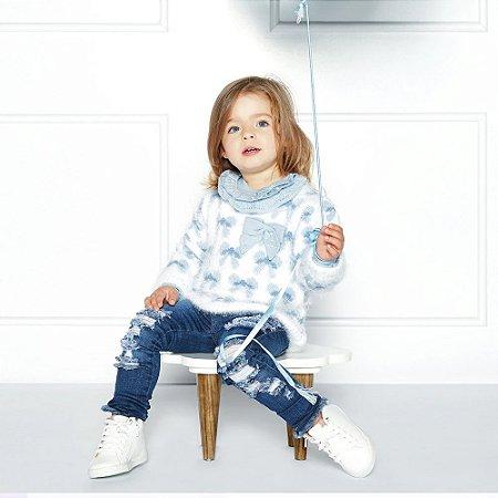 Blusão Infantil Peludinho - Laços Branco e Azul - Bebelândia - Tamanho 8