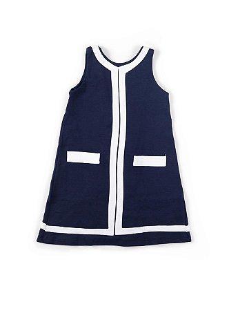 Vestido Infantil - Náutico Botões Azul Marinho - Tam 4 a 6