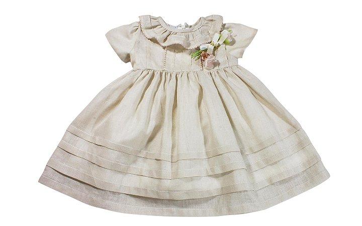 Vestido Bebê Bege com Flores - Festa de 1 ano - Tam GG