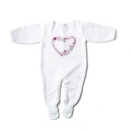 Saída de Maternidade Feminina - Bordado Coração - Branco