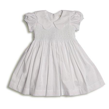 Vestido Casinha de Abelha Branco - Gola Nuvem - Tam P