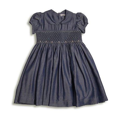 Vestido Infantil Casinha de Abelha Jeans - Tam 1 a 6
