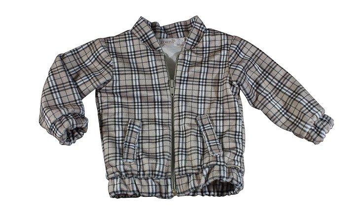 Jaqueta Bomber para Bebê Estampa Xadrez - Tam G - Roana