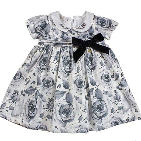 Vestido Infantil com Estampa de Rosas - Tam P ao M - Roana