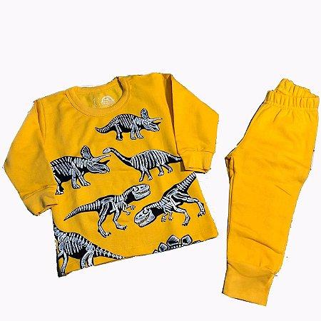 Pijama Infantil Moletinho Peluciado - Esqueleto - Brilha no Escuro - Tam 1 ao 6