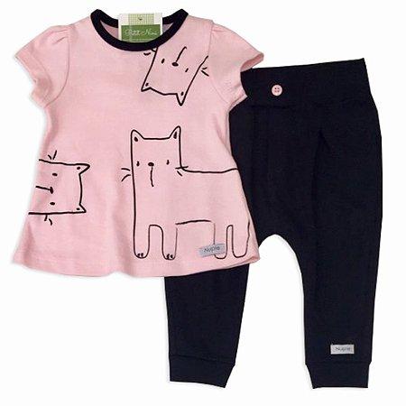 Conjunto Camiseta Estampa Gato e Calça - Piu Piu - Tam P a GG